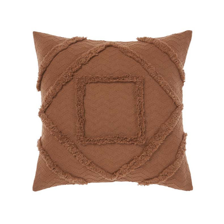 Linen House Adalyn Pecan Square Filled Cushion   My Linen