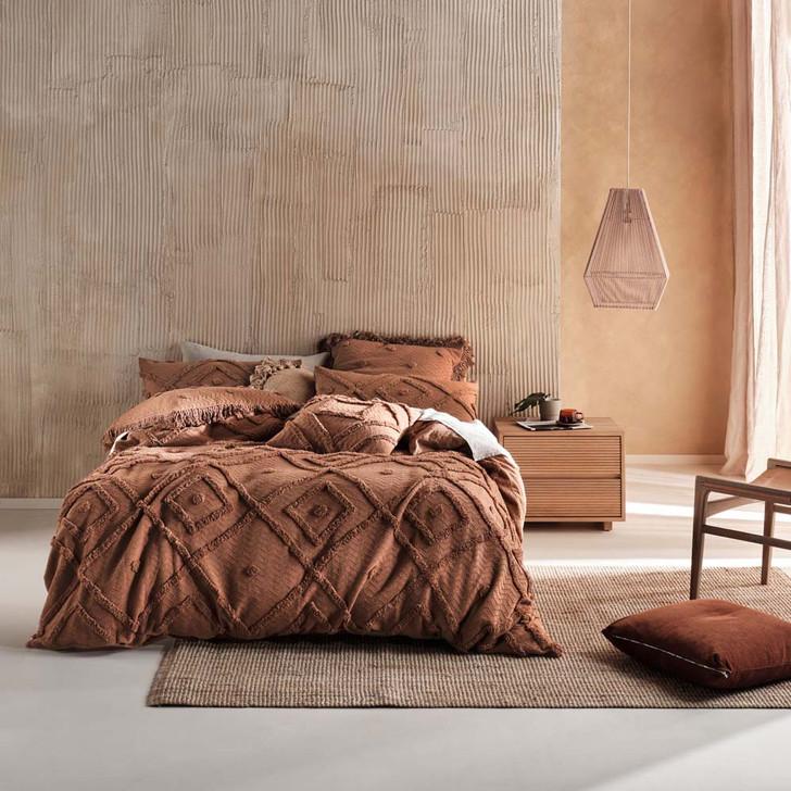 Linen House Adalyn Pecan Super King Quilt Cover Set   My Linen
