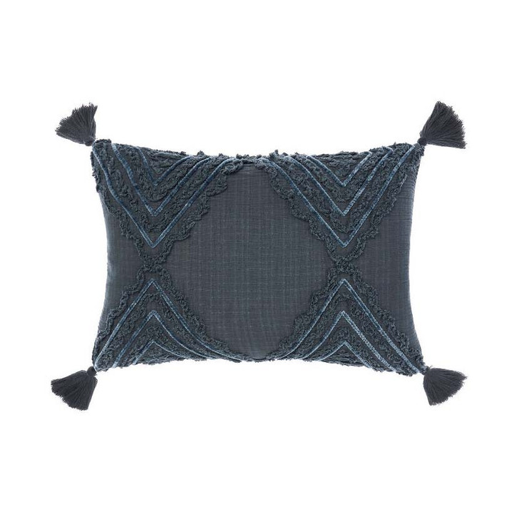 Linen House Heather Slate Long Filled Cushion | My Linen