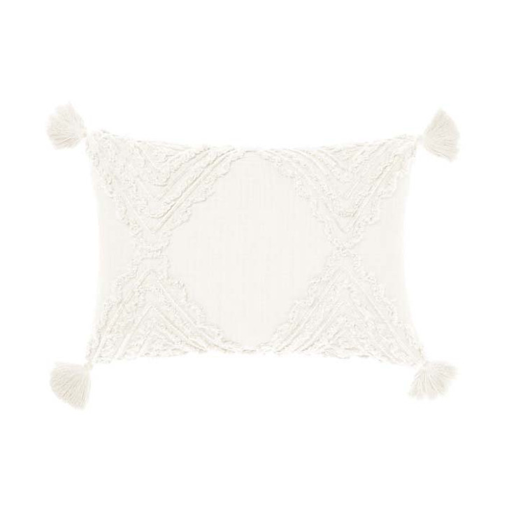 Linen House Heather White Long Filled Cushion | My Linen