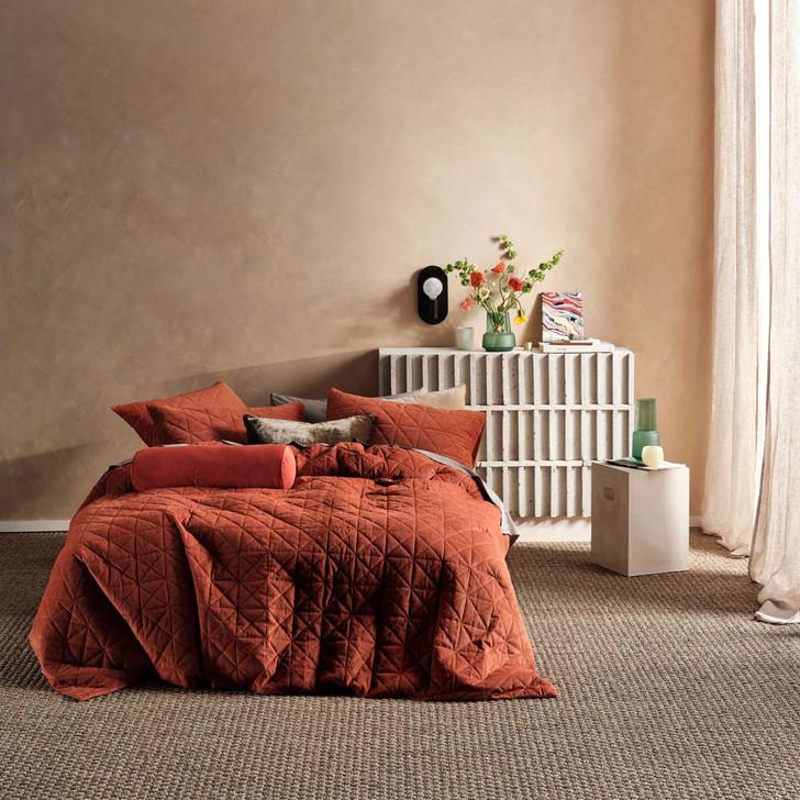 Linen House Heath Rust Double Bed Quilt Cover Set | My Linen