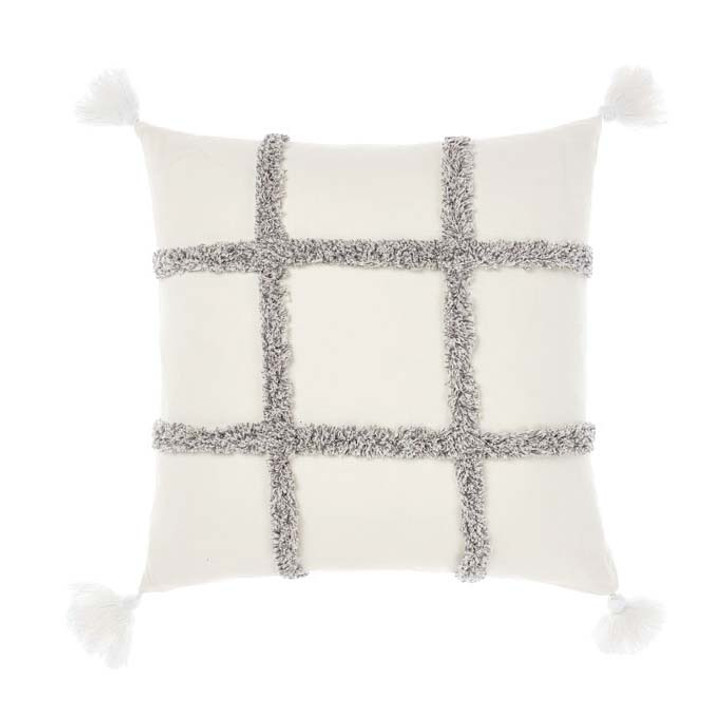 Linen House Lyndon Charcoal Square Filled Cushion | My Linen