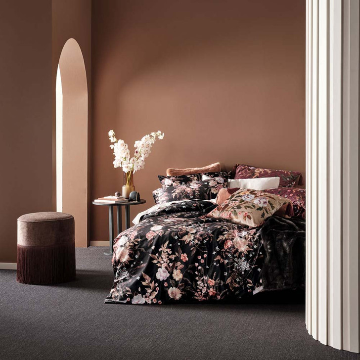 Linen House Cecilia Black Double Bed Quilt Cover Set   My Linen