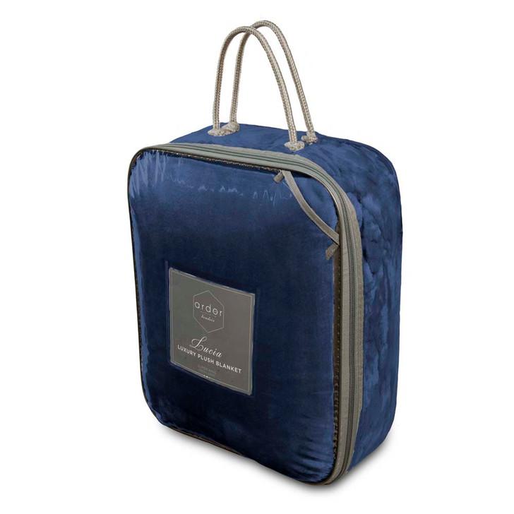 Ardor Boudoir Lucia Plush King Bed Blanket Navy Packaging | My Linen