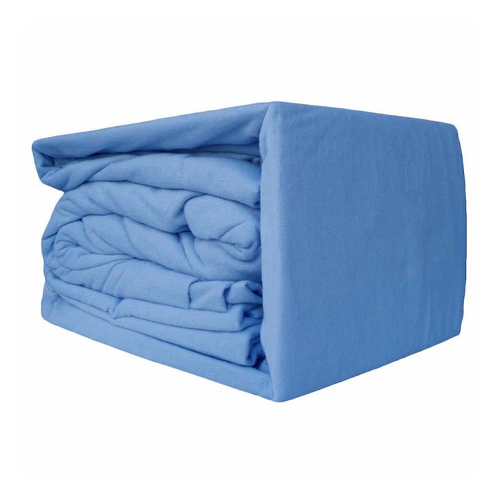 Ramesses 100% Egyptian Cotton Flannelette Queen 50cm Bed Sheet Set Mid Blue | My Linen