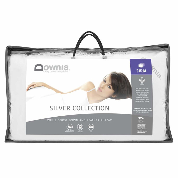 Downia Silver Collection White Goose Down Firm Profile Pillow| My Linen