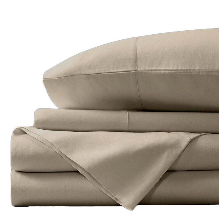 Concierge Luxury Bamboo Cotton Double Bed Sheet 400TC Stone   My Linen