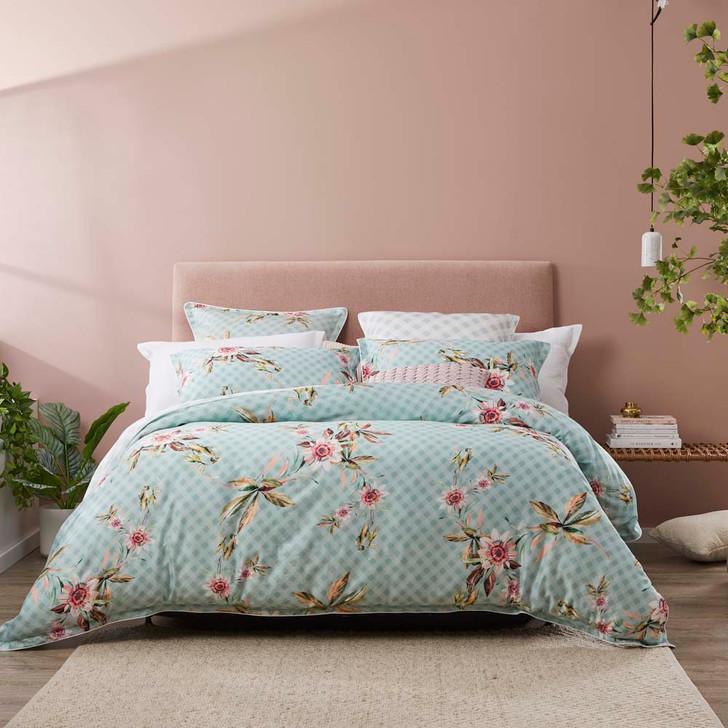 Platinum Logan and Mason Darlita Sage Queen Bed Quilt Cover Set   My Linen