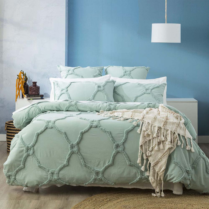 Renee Taylor Moroccan Sage King Bed Quilt Cover Set   My Linen