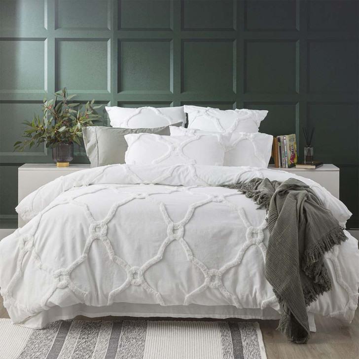 Renee Taylor Moroccan White Super King Quilt Cover Set | My Linen