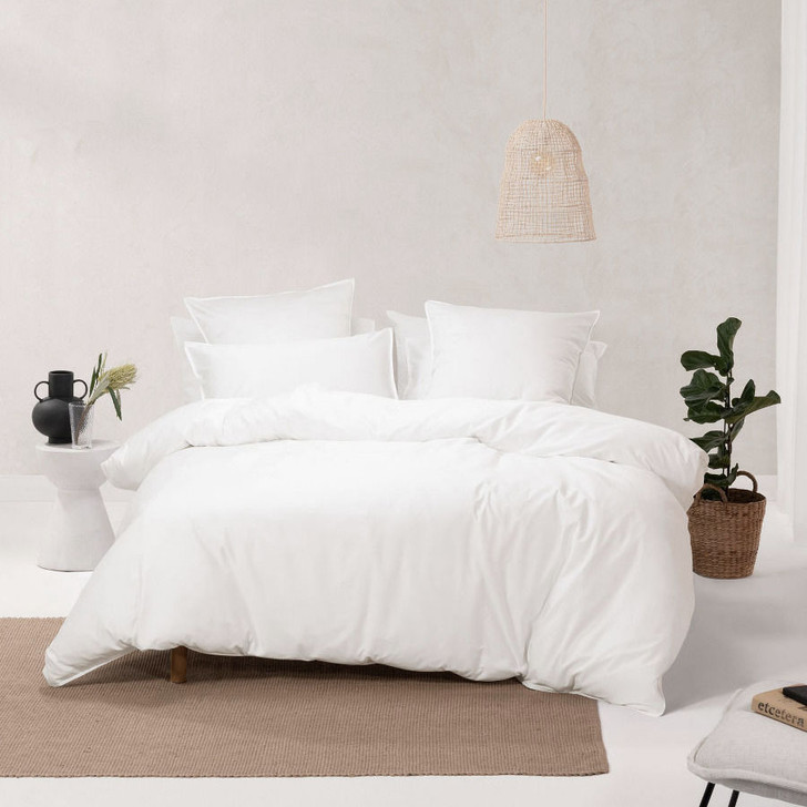 Linen House Nara Bamboo Cotton White Super King Quilt Cover Set | My Linen