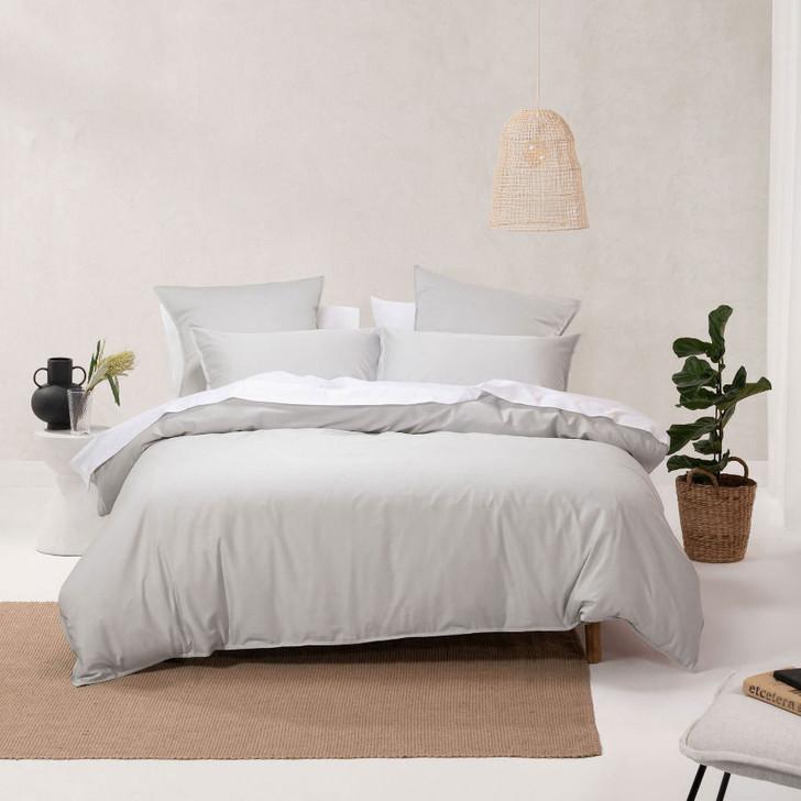 Linen House Nara Bamboo Cotton Silver Super King Quilt Cover Set   My Linen