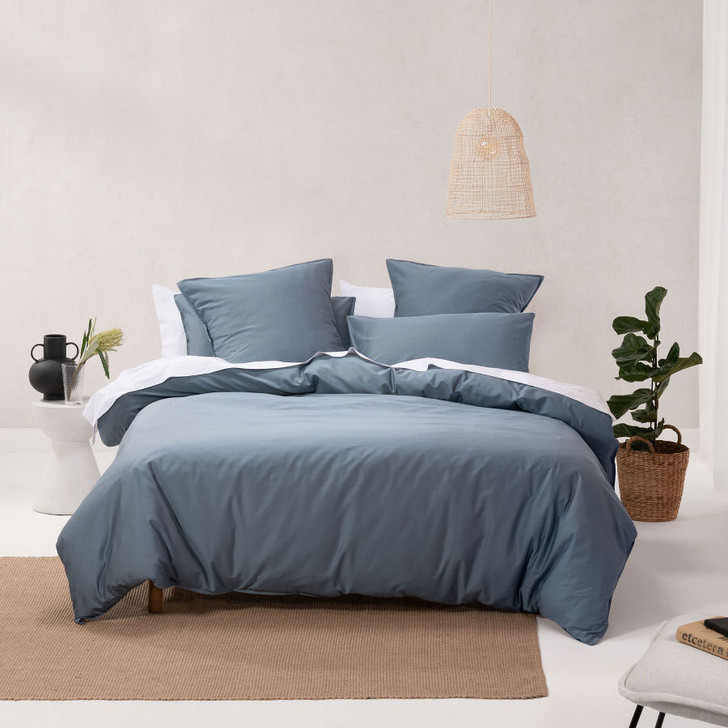 Linen House Nara Bamboo Cotton Bluestone Single Bed Quilt Cover Set   My Linen