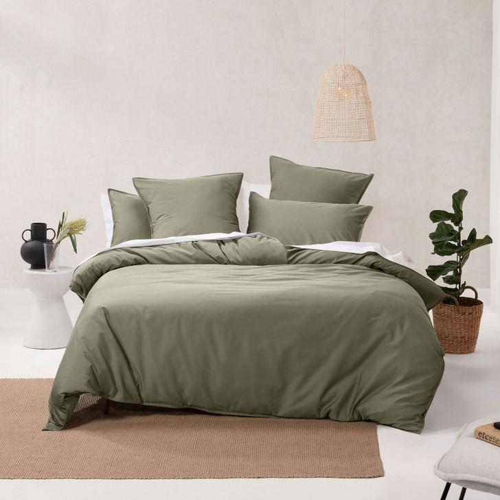 Linen House Nara Bamboo Cotton Moss Double Bed Quilt Cover Set   My Linen
