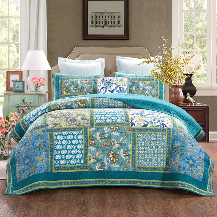 Classic Quilts Aquamarine  King Bed Coverlet Set | My Linen