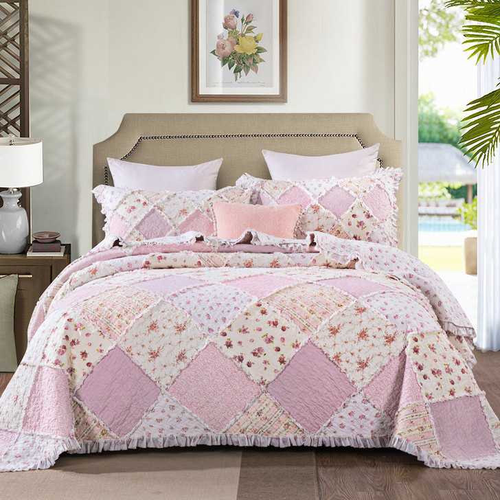 Classic Quilts Sarah Rose Queen Bed Coverlet Set | My Linen