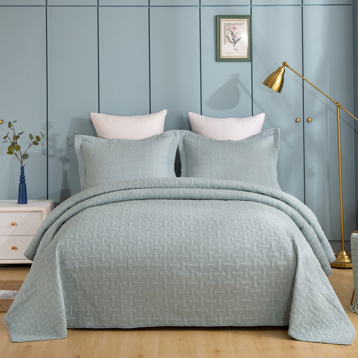 Classic Quilts Embroidered Jade King Bed Coverlet Set | My Linen