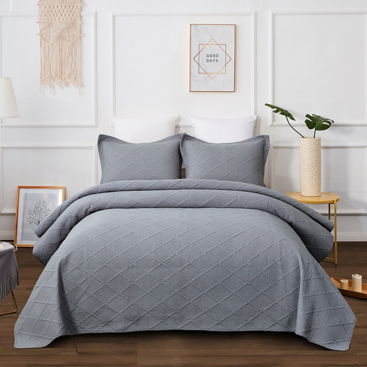 Classic Quilts Misty Grey Super King Coverlet Set | My Linen