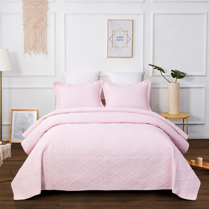 Classic Quilts Blush Pink King Bed Coverlet Set | My Linen