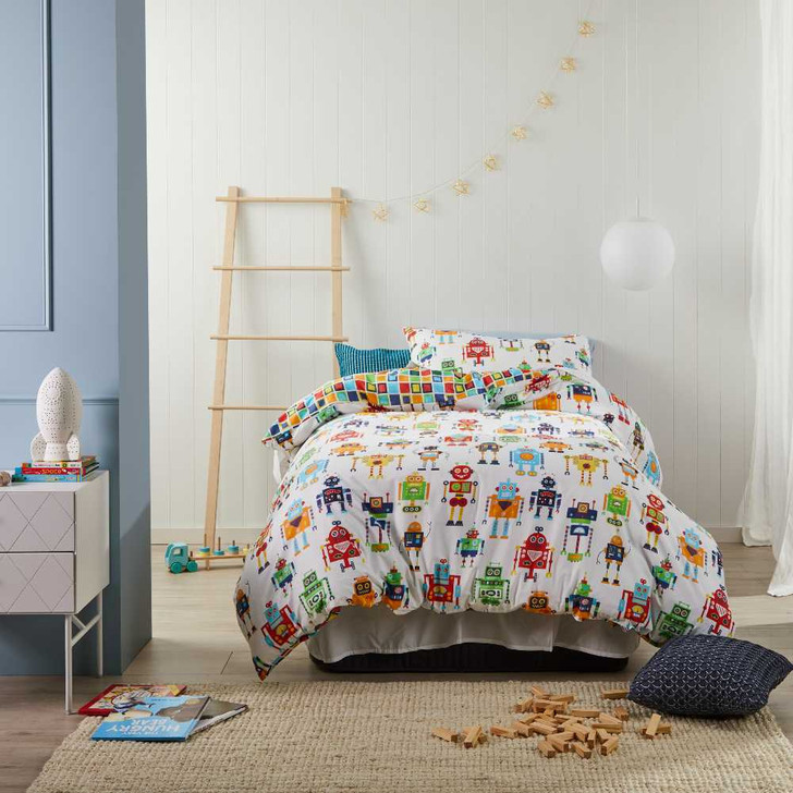 Logan and Mason Robots Multi Double Bed Quilt Cover Set | My Linen