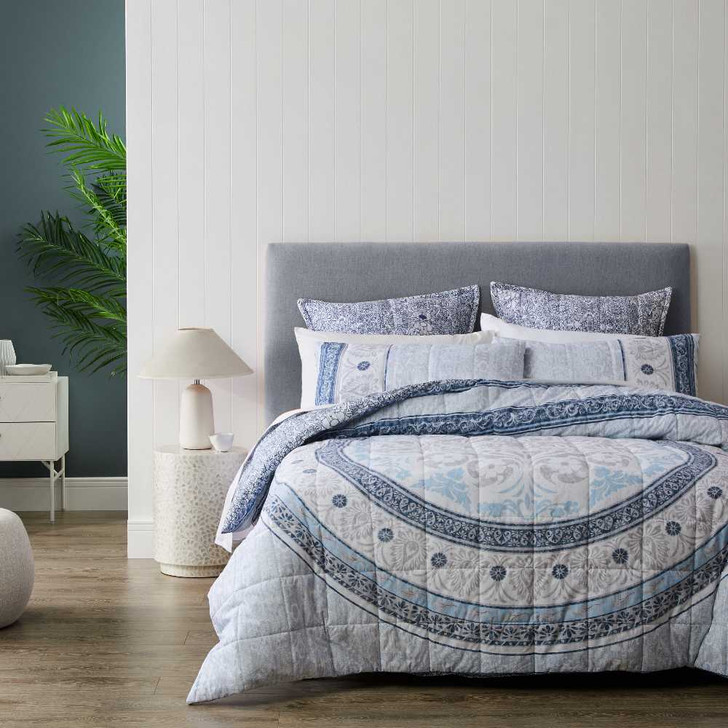 Private Collection Olani Blue King Bed Quilt Cover Set   My Linen