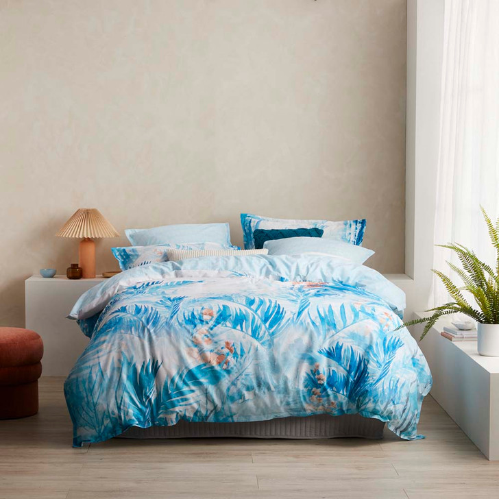 Logan and Mason Barbados Teal Queen Bed Quilt Cover Set   My Linen