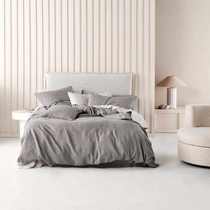Linen House Nimes Ash Double Bed Quilt Cover Set | My Linen