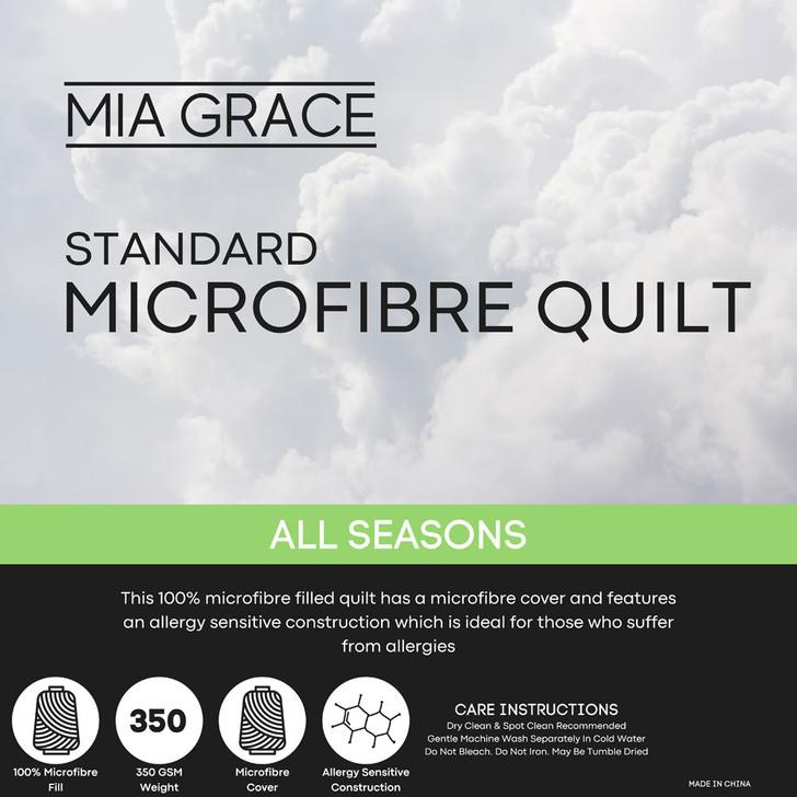 Mia Grace Standard 350GSM Microfibre All Seasons Quilt Single Bed | My Linen