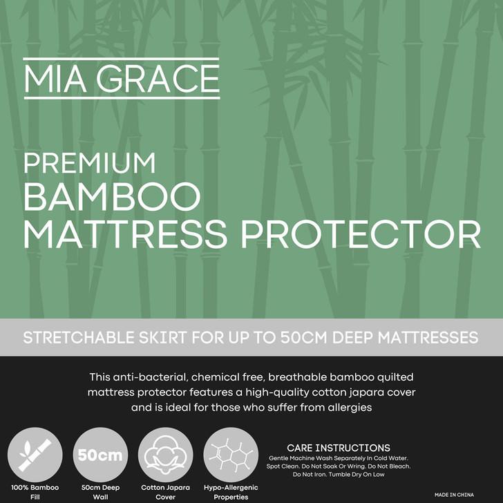 Mia Grace Premium Bamboo Mattress Protector Super King | My Linen