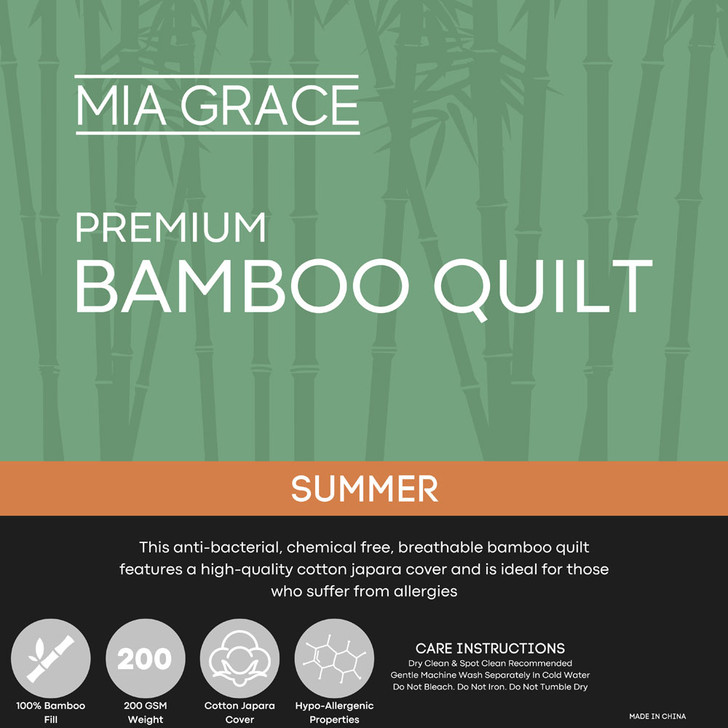 Mia Grace Premium 200GSM Bamboo Summer Quilt Double Bed   My Linen