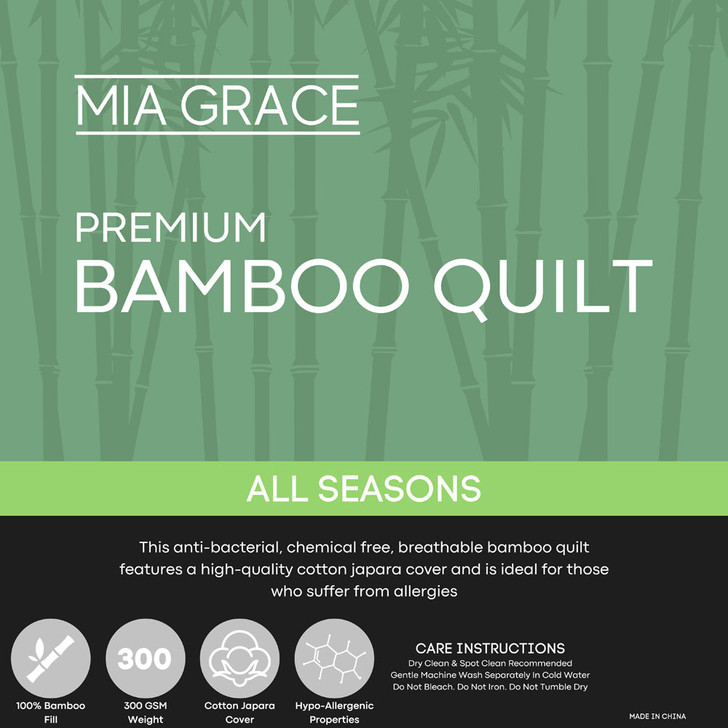 Mia Grace Premium 300GSM Bamboo All Seasons Quilt Double Bed | My Linen