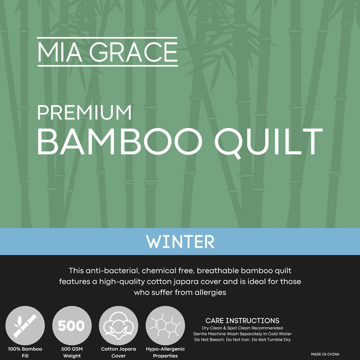Mia Grace Winter 500GSM Bamboo Winter Quilt Double Bed | My Linen