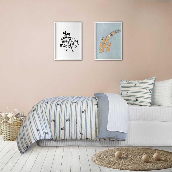 Jelly Bean Kids Logan Denim Single Bed Quilt Cover Set   My Linen