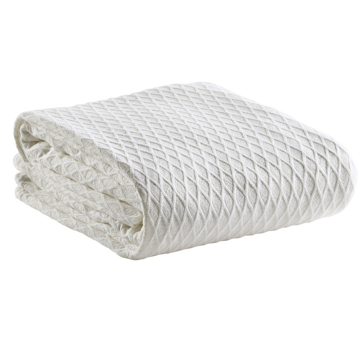 Bianca Gosford 100% Cotton Single / Double Bed Blanket White | My Linen