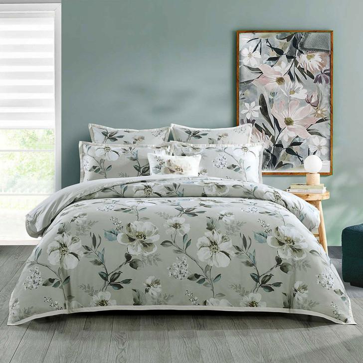 Bianca Kara Grey Queen Bed Quilt Cover Set   My Linen