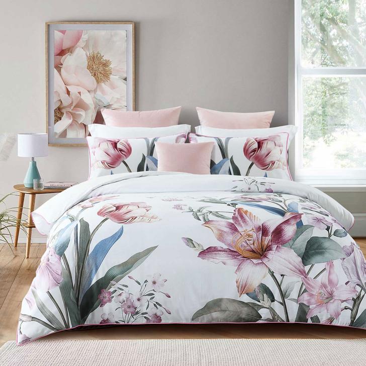 Bianca Fiorella Blush Queen Bed Quilt Cover Set   My Linen