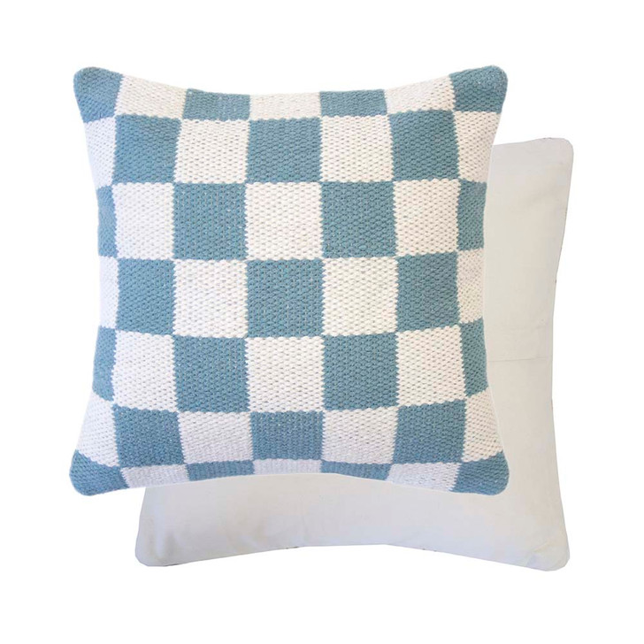 Bambury Checkers Steel Blue Square Filled Cushion   My Linen