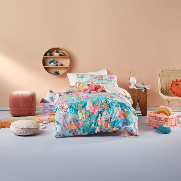 Linen House Kids The Reef Aqua Single Bed Quilt Cover Set   My Linen