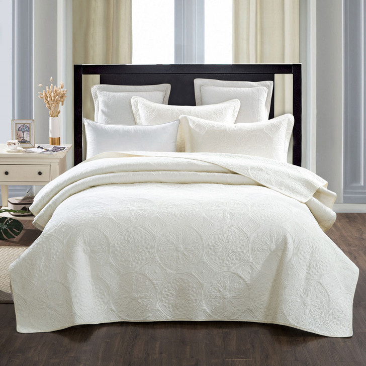 Classic Quilts Elegant Ivory King Single Bed Coverlet Set | My Linen