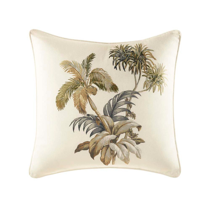 Tommy Bahama Nador Embroidered Ivory Square Filled Cushion | My Linen