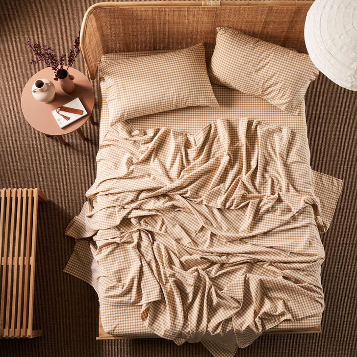 Linen House Springsteen Caramel Sheet Set King Bed | My Linen