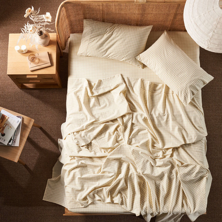 Linen House Springsteen Stone Sheet Set Queen Bed | My Linen