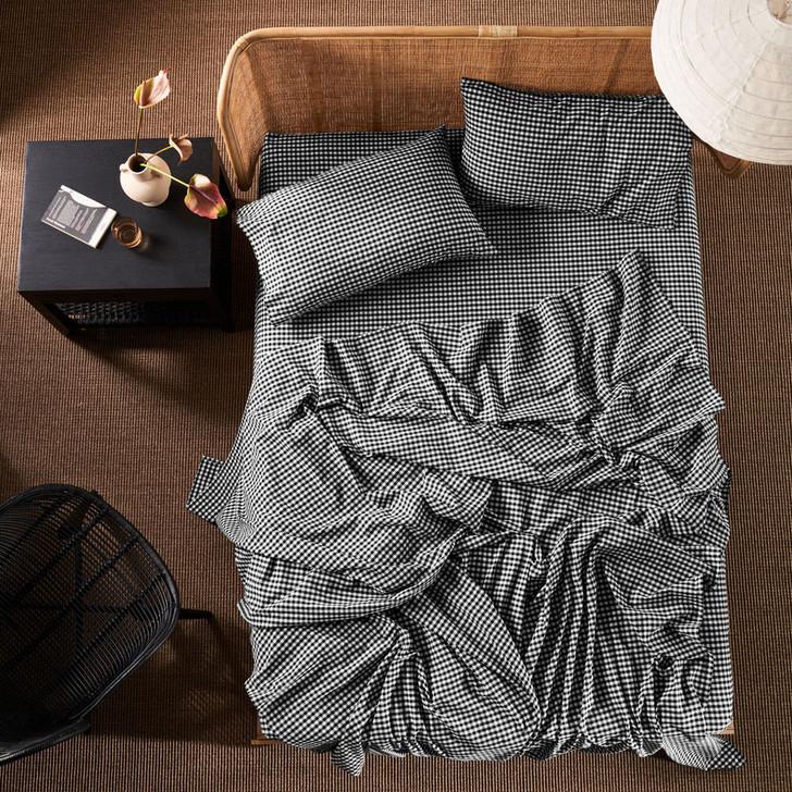Linen House Springsteen Black Sheet Set Queen Bed   My Linen