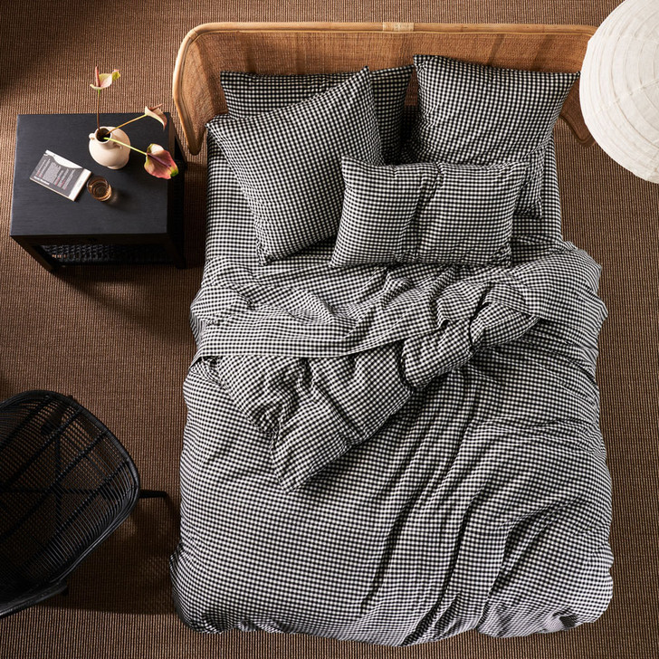 Linen House Springsteen Black Double Bed Quilt Cover Set   My Linen