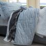 Macey and Moore Luxe Velvet Hampton Ice Blue Bedspread   My Linen
