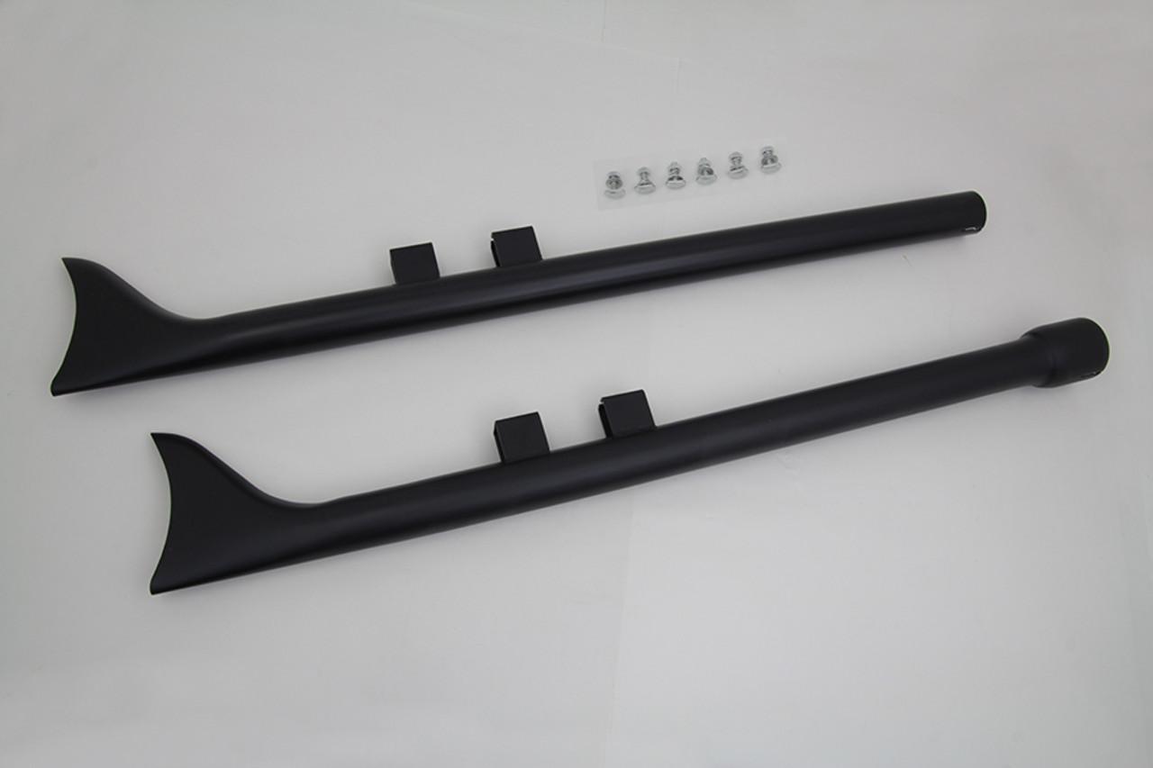 "M8 36"" Straight Fishtail Exhaust Set Black"