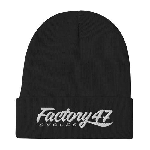 Factory 47 Black Script Flipped Beanie