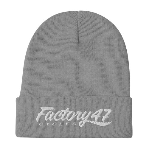 Factory 47 Charcoal Gray Script Flipped Beanie