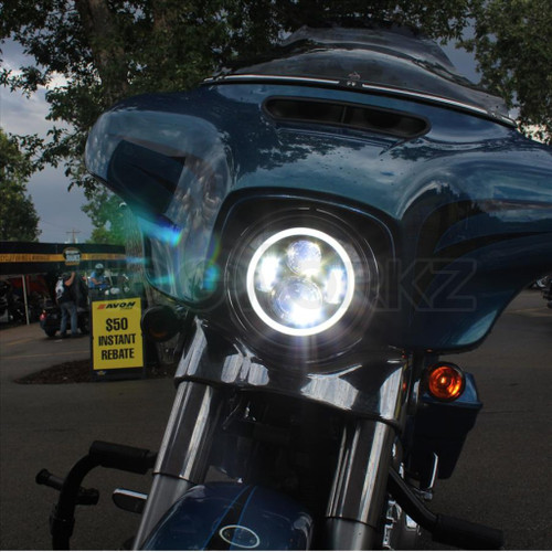 """Chrome 7"""" LED HaloMaker Headlight with Auxiliary Passing Lamps"""
