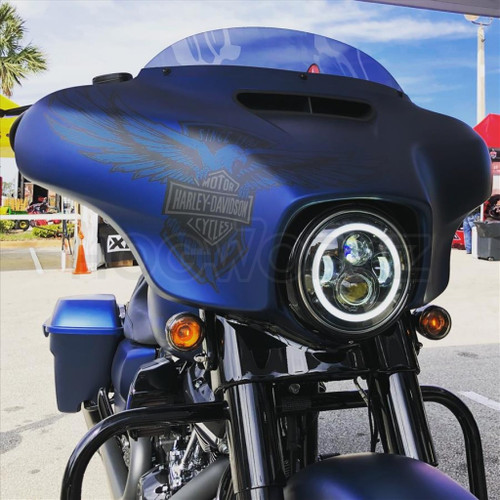 """7"""" LED Black HaloMaker Headlight (Harley Daymaker Replacement)"""